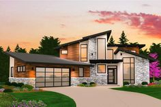 Lots of natural light comes streaming in through the tall specialty windows of this impressive Modern house plan.Vaulted ceilings start in the foyer and extend to the back of the house with two-story ceilings in the living room and dining room.Even the outdoor living area is vaulted making it feel larger.Tucked away on the left side of the home, the master suite enjoys a quiet location at the back of the house.No cramped spaces in this utility room that has lots of counter space and wall…