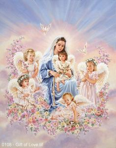Gift of Love by Dona Gelsinger - Religious { Blessed Virgin Mary with tiny angels }