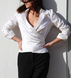 White satin silk cotton wrap blouse