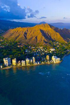 Aerial view of Diamond Head (mountain) off Waikiki Beach, Honolulu, Oahu, Hawai