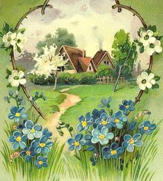 Cottage and Forget-Me-Nots
