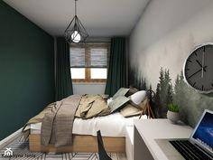 Projekt sypialni - Średnia szara zielona sypialnia małżeńska - zdjęcie od Katarzyna Jania - homebook Dom, Bedroom Ideas, Curtains, Furniture, Home Decor, Projects, Homemade Home Decor, Home Furnishings, Dorm Ideas