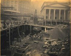 Subway Construction: Park Row and City Hall Park, from street level. Church with Ionic columns at right. November 1902