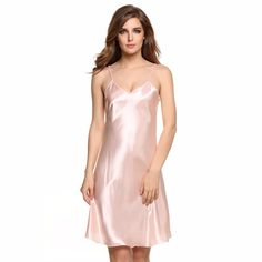 fd0799aabc381 Spaghetti Strap Solid Satin Nightwear Dress - FashionandLove.com Sleep Dress