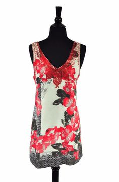 Free People Embroidered Floral Boho Women's V-Neck High Waist Dress Size 2 #FreePeople #Casual