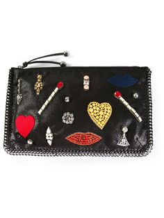 STELLA MCCARTNEY Heart, Lips And Matchstick Embellished Clutch