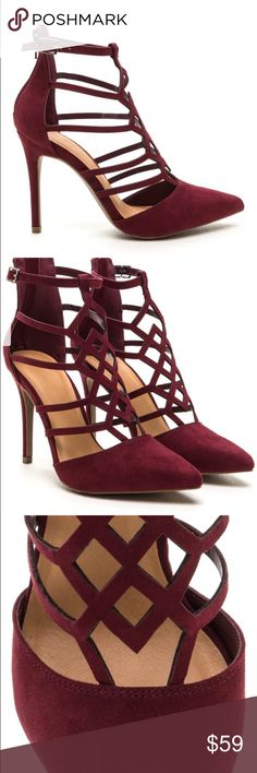 Cage design burgundy heel Cage design burgundy heel. Vegan suede. Pointed toe. Adjustable ankle strap and zipper. Stiletto heel that is 4 in. New in box. Never worn. Custom order takes one week to arrive. Boutique Shoes Heels