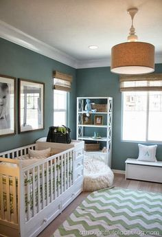 belle maison: Babies on the Brain :: Adorable Nusery Decor.      Love the crib/changing table combo!!!