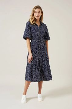 PUFF SLEEVE BELTED DRESS FRENCH NAVY/WHITE