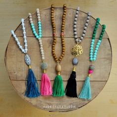 Simple way to make capped tassels with beads attached for tassel necklaces, key chains, decor and more.