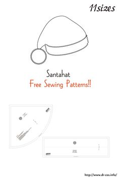 This is the pattern of a Santahat. Hat Patterns To Sew, Pdf Patterns, Free Pattern, Free Printable Sewing Patterns, Free Sewing, Hat Day, Shoulder Sling, Sewing Stitches, A4 Size