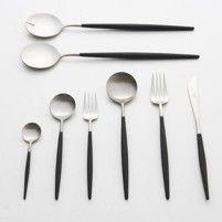 Goa - Cutlery | Cutipol. Matt black resin and stainless steel make an elegant contrast.