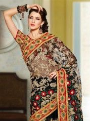 Bling black and red zari embroidered saree: KSR2232