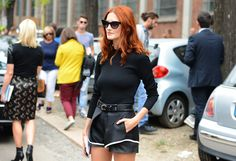 Tommy Ton Shoots the Street-Style Scene at the Spring 2013 Shows      love her. leather shorts
