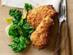Crispy Baked Fried Chicken : Bathing chicken pieces in buttermilk ensures that the meat stays moist while it bakes in the oven. Coat the pieces in crushed corn flakes to ensure that the skin is crispy.