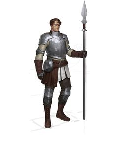 m Fighter Heavy Armor Lance male urban City Guard med Fantasy Fighter, Fantasy Male, Fantasy Armor, Medieval Fantasy, Fantasy Character Design, Character Design Inspiration, Character Concept, Character Art, Concept Art