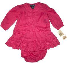 Ralph Lauren Baby Girls Dress & Panty Set Floral Embroidered Maddox Woven 12 M #RalphLauren #DressyEveryday