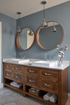 Brown Oak Dual Washstand with Rectangual Vessel Sinks