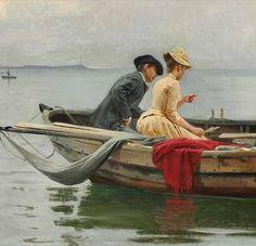 ERIK HENNINGSEN (detail) Boat Illustration, Lion Love, Old Couples, Great Paintings, Couple Drawings, Vintage Artwork, People Art, Art Oil, Impressionist