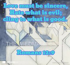 Love must be sincere, Hate what is evil; cling to what is good. Romans 12:9 Illustrated Bible Verses