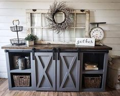 Gotta love these two tone colors that match perfectly together! The give a farmhouse but also a rustic vibe that would look amazing in your living space, entry way or the perfect coffee bar table. Farmhouse Buffet, Rustic Farmhouse Decor, Farmhouse Furniture, Diy Furniture, Dining Furniture, Kitchen Sideboard, Entertainment Center Decor, Entertainment Products, Decoration