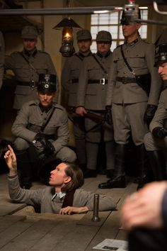 Wes Anderson on the set of 'The Grand Budapest Hotel'.