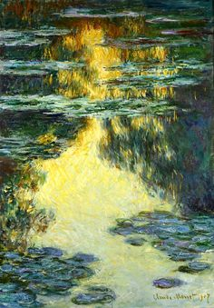 Water Lilies 1907 by Claude Monet, (1840-1926) is a famous French painter and one of the founders of the Impressionism movement. I fell in love with his work way back in high school.