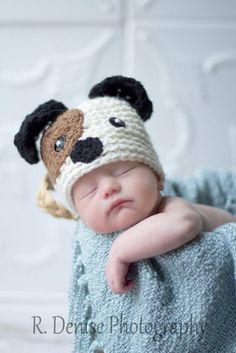Adorable knit puppy hat for newborns. So cute for first photos! (Puppy Dog Newborn Baby Crochet Hat Great for by MagicKnit, $18.95)