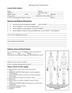 Free Massage Intake Forms | Massage Client Intake Form General and Medical Information
