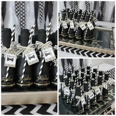 Mini Champagne Bottle Party Favors with Paper Straws