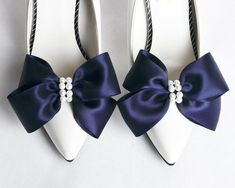 Blue Satin Shoes, Blue Bridal Shoes, Satin Bows, Ribbon Shoes, Bow Shoes, Me Too Shoes, Wedding Navy, Wedding Shoes, Wedding Bells