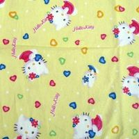 C901B - 1 yard Cotton Flannel Fabric - Hello kitty and heart (Yellow) (width=108cm)