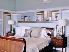 Blue and khaki bedroom