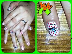 Decoración pop art Shellac.  Nails desing Shellac pop art decor.