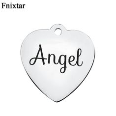 Fnixtar Stainless Steel Small Alphabet Angel Heart Charms For Women Jewelry Making DIY Mini Letter Charms Accessories 10pcs/lot #Affiliate