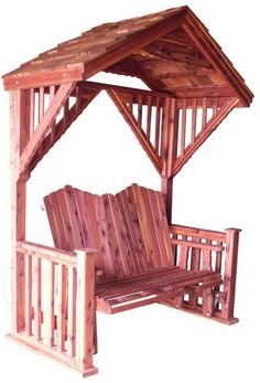 Cedar Covered Garden Swing Bench Seat Wood Outdoor Glider Roof Patio Furniture