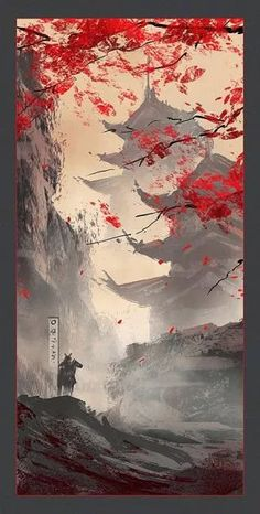Japan wallpaper - can find Japanese art and more on our website. Japanese Artwork, Japanese Tattoo Art, Japanese Painting, Japanese Art Samurai, Art In Japanese, Japanese Temple Tattoo, Japanese Nature, Japanese Sleeve, Japanese Prints