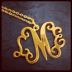 Gold Three Letter Monogram Necklace