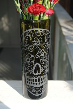 Upcycled Wine Bottle Vase - Flower Sugar Skull. $25.00, via Etsy.