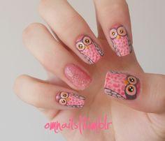 Spotted owl nail art