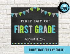 Commemorate your childs first day of school with this personalized sign!  Add…