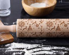 NEW  SNOWFLAKE  Beech Wood Laser Engraved Rolling by EleganceInMud