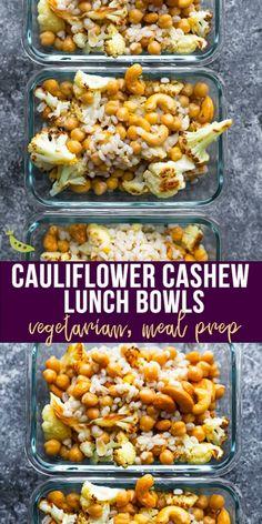 Make these cauliflower cashew meal prep bowls ahead of time and have work lunches ready for the week: Roasted cauliflower, toasted cashews, barley and chickpeas are all tossed in a delicious honey-ginger vinaigrette! Vegetarian and easily made vegan. Easy Healthy Meal Prep, Vegetarian Meal Prep, Vegan Meal Plans, Easy Healthy Recipes, Vegetarian Recipes, Meal Prep For Vegetarians, Cheap Vegan Meal Plan, Healthy Slow Cooker, Healthy Food