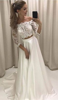 Two Piece Off-the-Shoulder 3/4 Sleeves White Prom Dress With Lace M1216