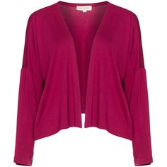 Isolde Roth Berry-Purple Plus Size Cropped jersey cardigan (1,200 EGP) ❤ liked on Polyvore featuring tops, cardigans, plus size, long sleeve jersey, plus size purple cardigan, purple cardigan, plus size long sleeve tops and plus size cropped cardigan