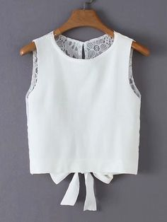 To find out about the Tie Back Lace Panel Tank Top at SHEIN, part of our latest Tank Tops & Camis ready to shop online today! Crop Top Outfits, Mode Outfits, Trendy Outfits, Girl Outfits, Fashion Outfits, Fashion News, Girl Fashion, Crop Tops, Tank Tops
