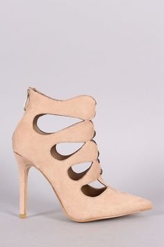 Vegan Suede Cut Out Pointy Toe Stiletto Heels