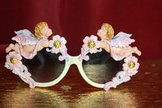 SOLD! 3654 Baroque Faced Cherubs Blue Flower Gold Touch Embellished Sunglasses