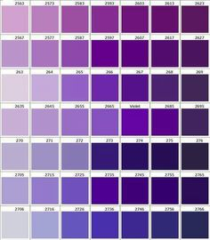 Purple Color Chart Shades Of Pantone