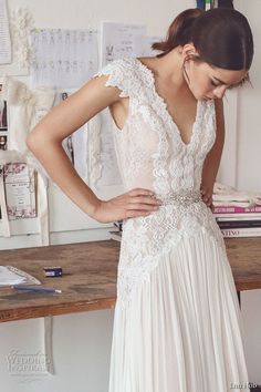 lihi hod 2017 bridal cap sleeves v neck heavily embellished bodice pleated skirt elegant modified a  line wedding dress low back sweep train (aline) zv